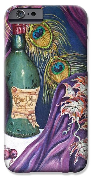 Red Wine and Peacock Feathers iPhone Case by Caroline Street