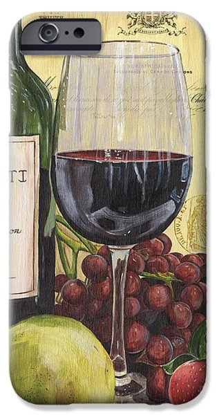 Wine Glasses Paintings iPhone Cases - Red Wine and Pear iPhone Case by Debbie DeWitt