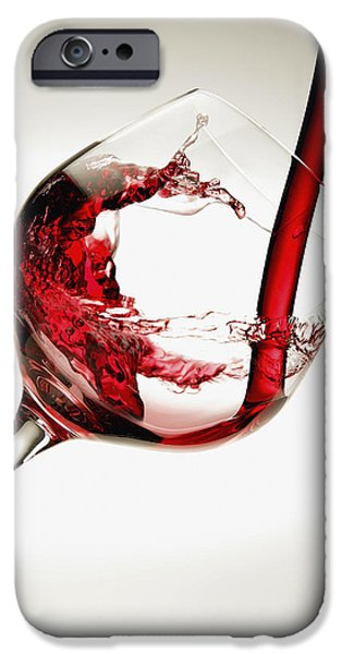 Glass Of Wine iPhone Cases - Red Wine Pouring Into A Glass iPhone Case by Richard Desmarais