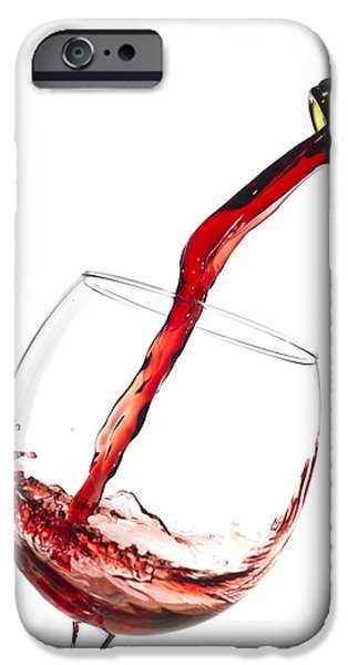 Wine Bottles Photographs iPhone Cases - Red Wine Pouring into wineglass splash iPhone Case by Dustin K Ryan