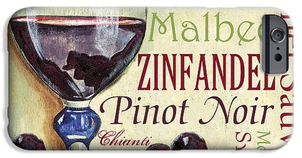 Red Wine iPhone Cases - Red Wine Text iPhone Case by Debbie DeWitt