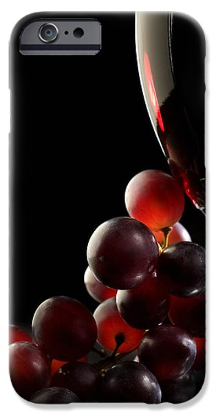 Macro iPhone Cases - Red wine with grapes iPhone Case by Johan Swanepoel
