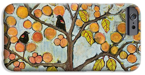 Tree Art Print Mixed Media iPhone Cases - Red Winged Black Birds in a Tree iPhone Case by Blenda Studio
