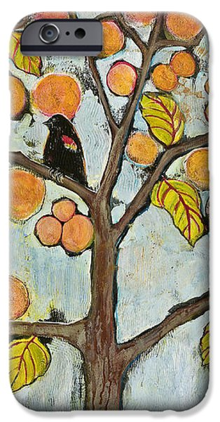 Red Winged Black Birds in a Tree iPhone Case by Blenda Studio