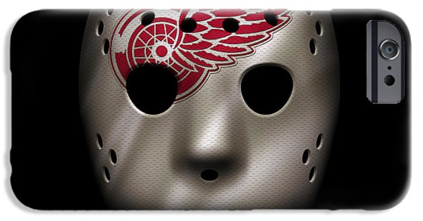 Red Wings iPhone Cases - Red Wings Jersey Mask iPhone Case by Joe Hamilton