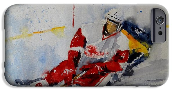 Stanley Cup Paintings iPhone Cases - Red Wings iPhone Case by Sandra Strohschein