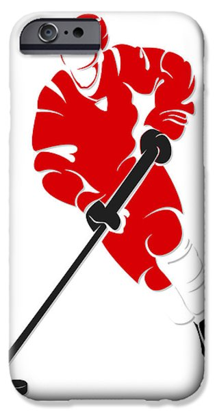 Red Wings iPhone Cases - Red Wings Shadow Player iPhone Case by Joe Hamilton