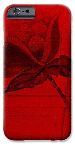 Botanic Illustration Digital Art iPhone Cases - Red Wood Flower  iPhone Case by Rob Hans