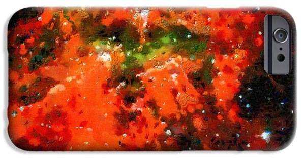 Outer Space Paintings iPhone Cases - Red  xloud in deep space iPhone Case by Magomed Magomedagaev