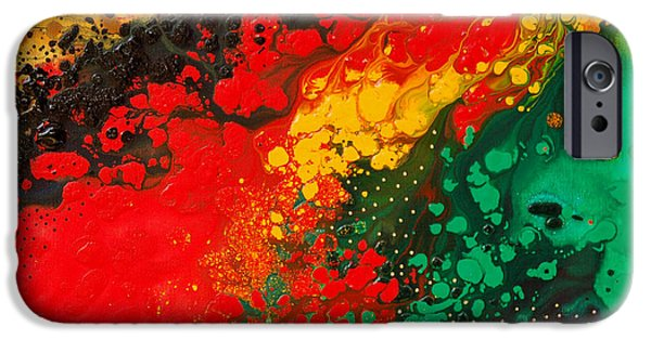 Earth Tone Art iPhone Cases - Red Yellow Green Black Abstract iPhone Case by Sharon Cummings