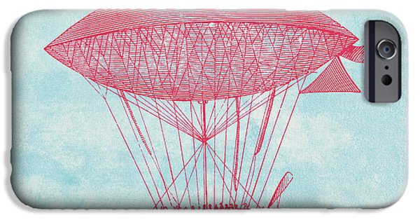 Aeronautical iPhone Cases - Red Zeppelin - Retro Airship iPhone Case by World Art Prints And Designs