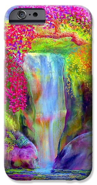 Colorful Paintings iPhone Cases - Redbud Falls iPhone Case by Jane Small