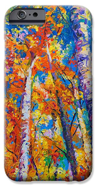 Healing Paintings iPhone Cases - Redemption - fall birch and aspen iPhone Case by Talya Johnson