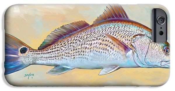 Redfish iPhone Cases - Redfish Illustration iPhone Case by Mike Savlen