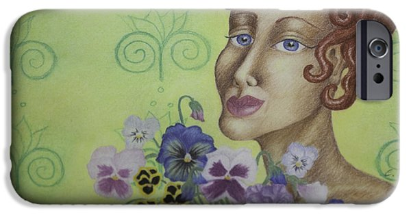 Poetic Pastels iPhone Cases - Redhead Holding Pansies iPhone Case by Claudia Cox