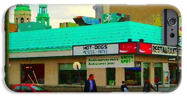 Restaurant Greenspot iPhone Cases - Rediscover Your Greenspot Notre Dame St Henri Dogs Et Frites Urban Food City Scenes Carole Spandau  iPhone Case by Carole Spandau