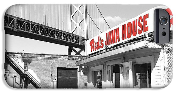 The White House Photographs iPhone Cases - Reds Java House and The Bay Bridge in San Francisco Embarcadero . Black and White and Red . Square iPhone Case by Wingsdomain Art and Photography