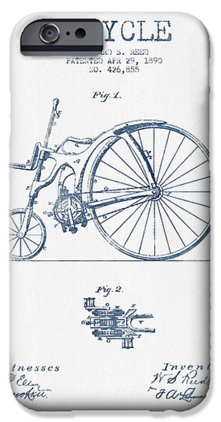 Transportation Digital Art iPhone Cases - Reed Bicycle Patent Drawing From 1890 - Blue Ink iPhone Case by Aged Pixel