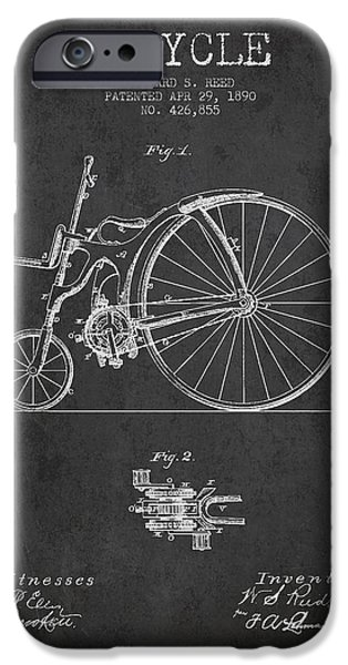 Bicycle iPhone Cases - Reed Bicycle Patent Drawing From 1890 - Dark iPhone Case by Aged Pixel