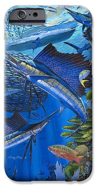 Swordfish iPhone Cases - Reef Frenzy OFF00141 iPhone Case by Carey Chen