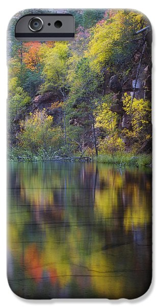 Oak Creek Canyon iPhone Cases - Reflected Fall iPhone Case by Peter Coskun