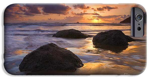 Ocean Sunset iPhone Cases - Reflected in the Sand iPhone Case by Mike  Dawson