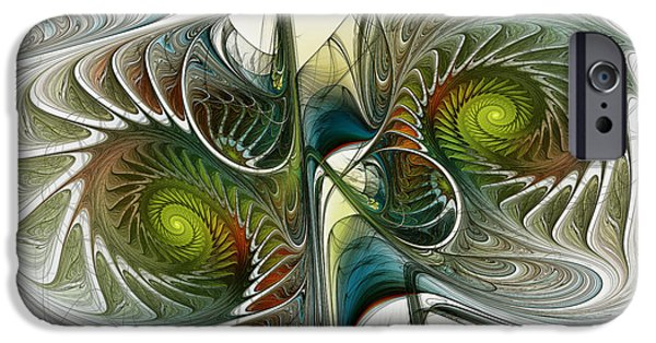 Poetic iPhone Cases - Reflected Spirals Fractal Art iPhone Case by Karin Kuhlmann