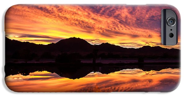 Haybale iPhone Cases - Reflected Sunrise iPhone Case by Robert Bales