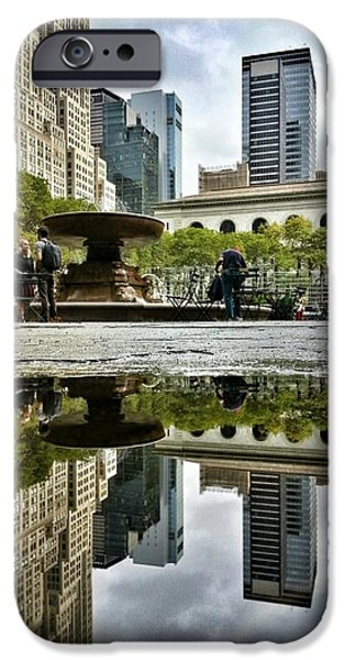 Reflecting in Bryant Park iPhone Case by Shmuli Evers