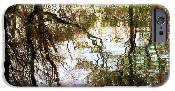 Nature Abstracts Pastels iPhone Cases - Reflecting iPhone Case by Lori Bourgault