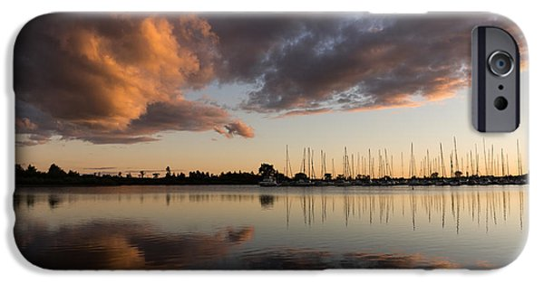Sailboat Ocean iPhone Cases - Reflecting on Boats and Clouds at Sunset iPhone Case by Georgia Mizuleva