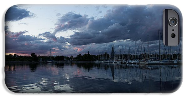 Turbulent Skies iPhone Cases - Reflecting on Boats and Clouds iPhone Case by Georgia Mizuleva
