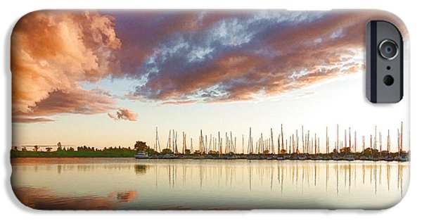 Boat iPhone Cases - Reflecting on Clouds and Yachts - Lake Ontario Impressions iPhone Case by Georgia Mizuleva