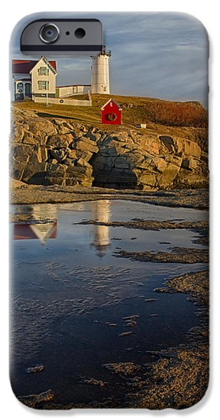 Nubble Lighthouse iPhone Cases - Reflecting On Nubble Lighthouse iPhone Case by Susan Candelario