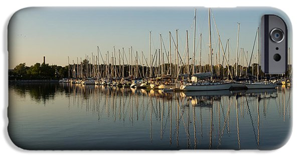 Sailboat Ocean iPhone Cases - Reflecting on Yachts and Sailboats iPhone Case by Georgia Mizuleva