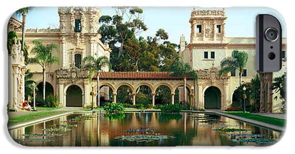 Built Structure iPhone Cases - Reflecting Pool In Front Of A Building iPhone Case by Panoramic Images