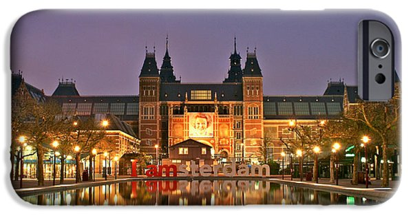 Lights At Night Pyrography iPhone Cases - Reflecting Pool Rijks Museum Amsterdam iPhone Case by DUG Harpster
