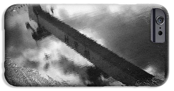 Rainy Day iPhone Cases - reflection Harland and Wolff shipyard cranes titanic quarter Belfast Northern Ireland iPhone Case by Joe Fox