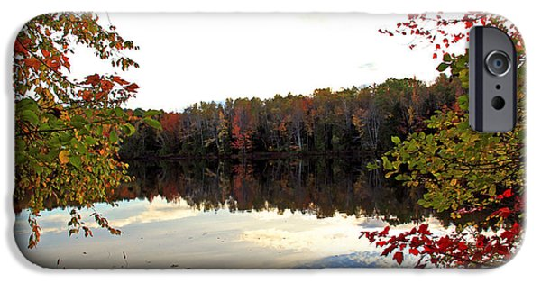 Maine Pyrography iPhone Cases - Reflection in Lake iPhone Case by Jeremy Richards