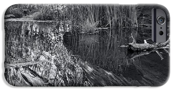 West Fork iPhone Cases - Reflection in the Water B.W. iPhone Case by Brian Lambert