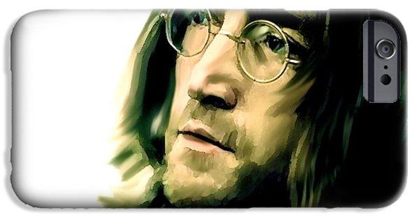 John Lennon Drawings iPhone Cases - Reflection II John Lennon iPhone Case by Iconic Images Art Gallery David Pucciarelli