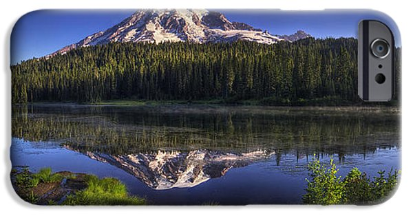 Mount Rainier iPhone Cases - Reflection Lake Panorama iPhone Case by Mark Kiver