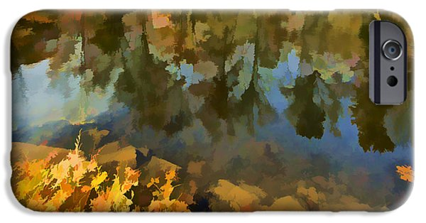 David iPhone Cases - Reflection of Autumn Colors on the Canal II iPhone Case by David Letts