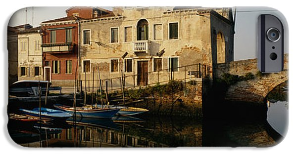 Built Structure iPhone Cases - Reflection Of Boats And Houses iPhone Case by Panoramic Images