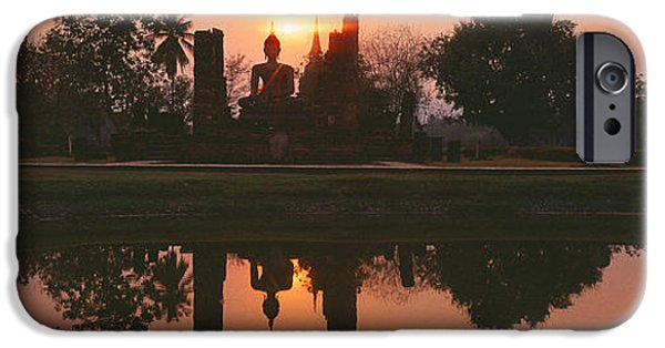 Buddhism iPhone Cases - Reflection Of Buddha Statue On Water iPhone Case by Panoramic Images