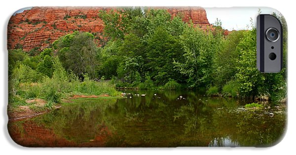 Oak Creek iPhone Cases - Reflection of Cathedral Rock iPhone Case by Carol Groenen