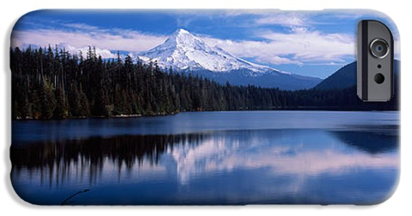 Winter Scene iPhone Cases - Reflection Of Clouds In Water, Mt Hood iPhone Case by Panoramic Images