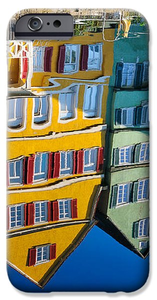 Reflection of colorful houses in Neckar river Tuebingen Germany iPhone Case by Matthias Hauser