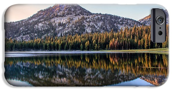 Haybale iPhone Cases - Reflection Of Gunsight Mountain iPhone Case by Robert Bales
