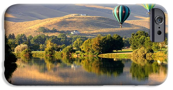 Yakima Valley iPhone Cases - Reflection of Prosser Hills iPhone Case by Carol Groenen